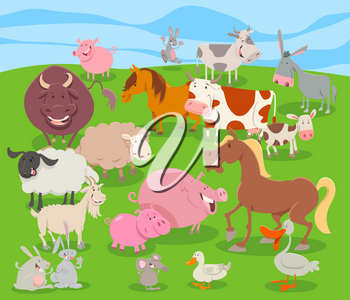 Cartoon Illustration of Comic Farm Animal Funny Characters Group