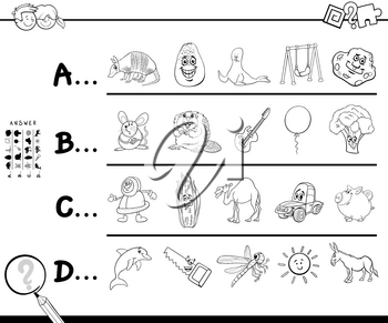 Black and White Cartoon Illustration of Finding Picture Starting with Referred Letter Educational Game Worksheet for Children with Objects and Animals Coloring Book