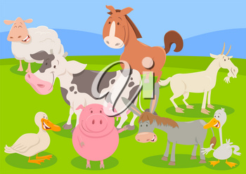 Cartoon Illustration of Funny Farm Animal Characters Group