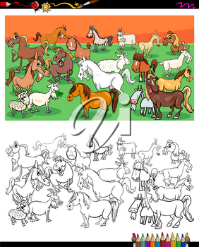 Cartoon Illustration of Horses ans Goats Farm Animal Characters Group Coloring Book Activity