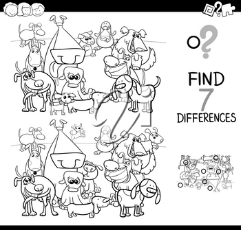 Black and White Cartoon Illustration of Finding Seven Differences Between Pictures Educational Activity Game for Children with Funny Dogs Animal Characters Group Coloring Book