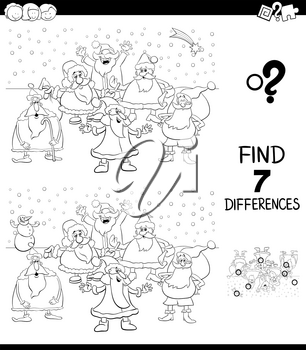 Black and White Cartoon Illustration of Finding Seven Differences Between Pictures Educational Game for Children with Santa Claus Christmas Characters Coloring Book