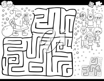 Black and White Cartoon Illustration of Education Maze or Labyrinth Activity Game for Children with Christmas Santa Claus Coloring Book