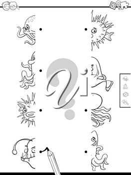 Black and White Cartoon Illustration of Educational Game of Matching Halves of Pictures with Sea Life Animals Coloring Book