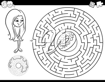 Black and White Cartoon Illustration of Education Maze or Labyrinth Activity Game for Children with Girl and Doughnut Coloring Book