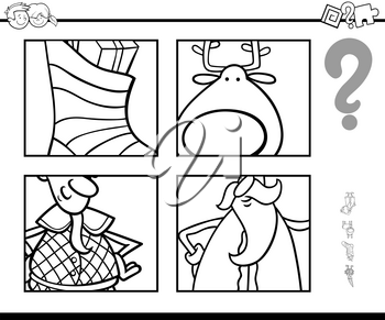Black and White Cartoon Illustration of Educational Game of Guessing Christmas Characters and Themes for Children Coloring Book