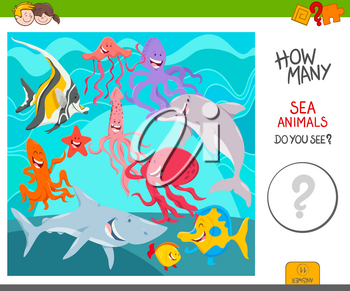 Cartoon Illustration of Educational Counting Activity Game for Kids with Sea Life Animal Characters