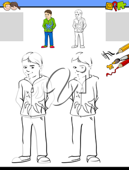 Cartoon Illustration of Drawing and Coloring Educational Activity for Children with Boy Character