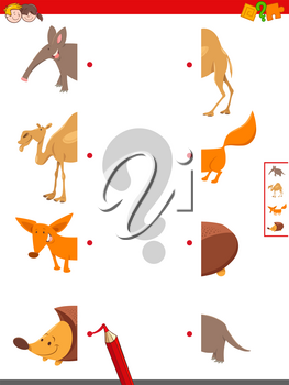 Cartoon Illustration of Educational Game of Matching Halves of Funny Animals