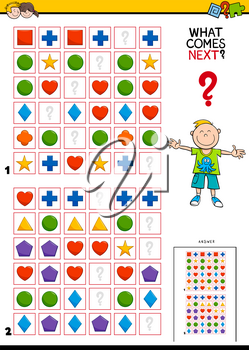 Cartoon Illustration of Finishing the Pattern in the Rows Educational Game for Children