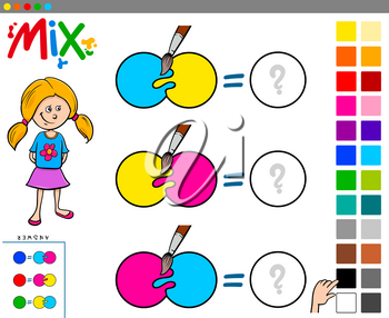 Cartoon Illustration of Mixing Colors Educational Game for Children