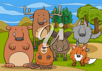 Cartoon Illustrations of Funny Wild Mammals Animal Characters Group