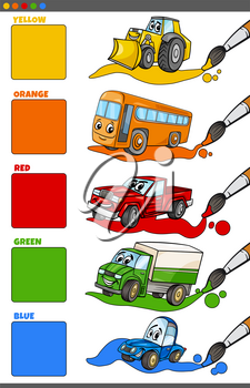 Cartoon Illustration of Basic Colors with Funny Vehicle Characters Educational Set for Preschool Children