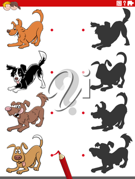 Cartoon Illustration of Match the Right Shadows with Pictures Educational Task for Children with Playful Dogs and Puppies Animal Characters