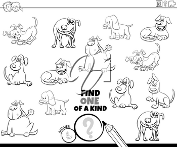Black and White Cartoon Illustration of Find One of a Kind Picture Educational Game with Funny Dogs and Puppies Animal Characters Coloring Book Page