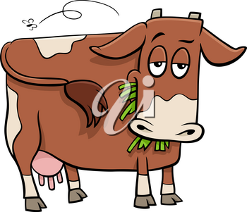 Cartoon Illustration of Spotted Cow Farm Animal Character