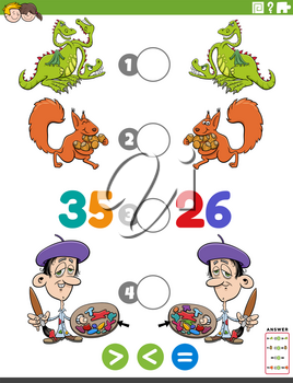 Cartoon illustration of educational mathematical puzzle game of greater than, less than or equal to for children with funny characters worksheet page