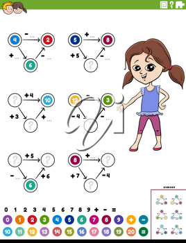 Cartoon illustration of educational mathematical calculation diagram task for children with girl worksheet page