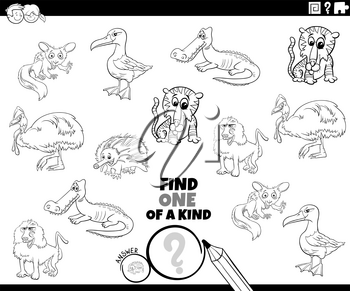 Black and White Cartoon Illustration of Find One of a Kind Picture Educational Game with Comic Wild Animal Characters Coloring Book Page