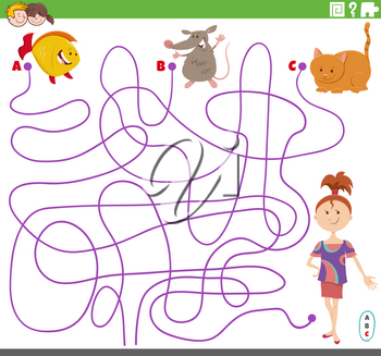Cartoon Illustration of Lines Maze Puzzle Game with Girl and Pets Characters