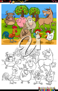 Cartoon Illustration of Funny Farm Animal Characters Group Coloring Book Page