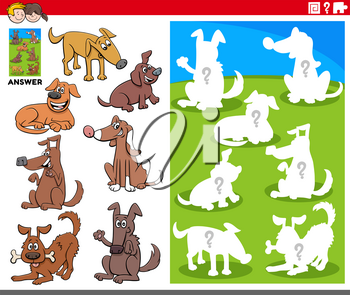 Cartoon Illustration of Match Objects and the Right Shape or Silhouette with Dogs Animal Characters Educational Game for Children