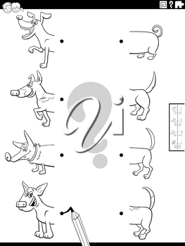 Black and White Cartoon Illustration of Educational Task of Matching Halves of Pictures with Funny Dogs Animal Characters Coloring Book Page