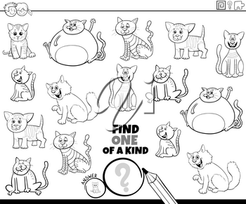 Black and White Cartoon Illustration of Find One of a Kind Picture Educational Game with Comic Cats and Kittens Animal Characters Coloring Book Page