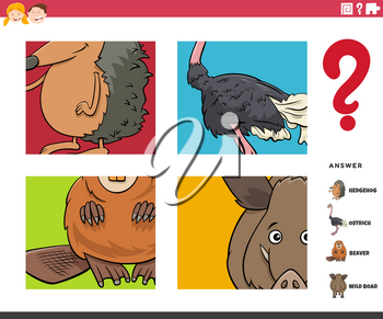 Cartoon Illustration of Educational Game of Guessing Wild Animals Worksheet or Application for Children