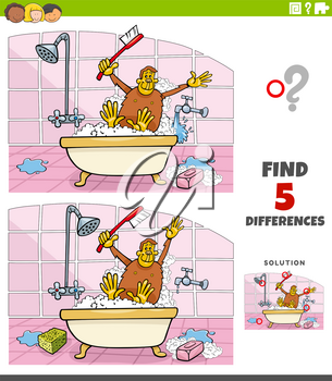 Cartoon illustration of finding the differences between pictures educational game for children with ape taking a bath