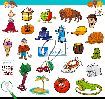 Cartoon Illustration of Finding Picture Starting with Letter I Educational Game Workbook for Children
