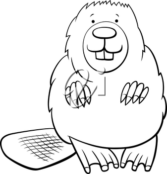 Black and White Cartoon Illustration of Funny Beaver Wild Animal Character Coloring Book Page