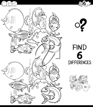 Black and White Cartoon Illustration of Finding Six Differences Between Pictures Educational Game for Children with Funny Fish in the Water Coloring Book
