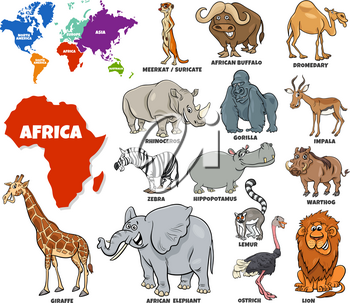 Educational Cartoon Illustration of African Animals Set and World Map with Continents Shapes