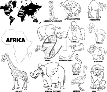Black and White Educational Cartoon Illustration of African Animals Set and World Map with Continents Shapes Coloring Book Page
