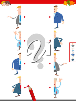Cartoon Illustration of Educational Game of Matching Halves of Funny Men Characters