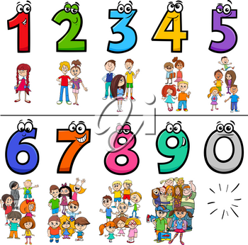 Cartoon Illustration of Educational Numbers Set from One to Nine with Children and Teen Characters