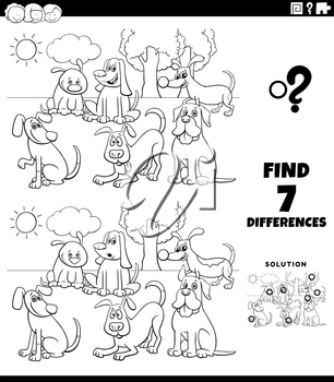Black and White Cartoon Illustration of Finding Differences Between Pictures Educational Task for Kids with Funny Dog Characters Group Coloring Book Page