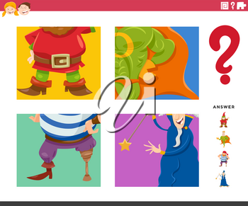 Cartoon Illustration of Educational Game of Guessing Fantasy Characters Worksheet or Application for Kids