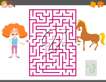Cartoon Illustration of Education Maze Activity Game for Children with Girl and Horse