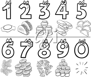 Black and White Cartoon Illustration of Educational Numbers Collection from One to Nine with Food Objects Coloring Book