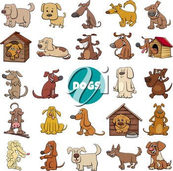 Cartoon Illustration of Dogs and Puppies Pet Animal Characters Big Collection