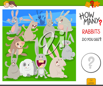 Cartoon Illustration of Educational Counting Task for Children with Rabbits Animal Characters Group