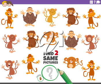 Cartoon Illustration of Finding Two Same Pictures Educational Task for Children with Funny Monkeys and Apes Wild Animal Characters