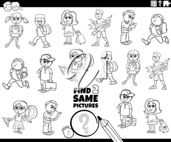 Black and White Cartoon Illustration of Finding Two Same Pictures Educational Game for Children with Funny School Kids or Pupils Characters Coloring Book Page