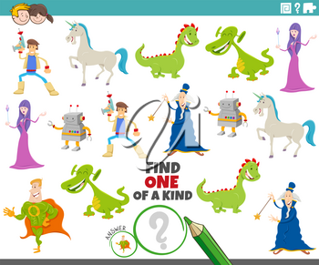 Cartoon Illustration of Find One of a Kind Picture Educational Game with Comic Fantasy Characters