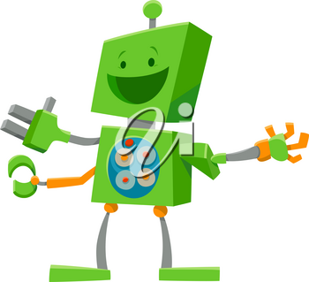 Cartoon Illustration of Robot or Droid Fantasy or Technology Character