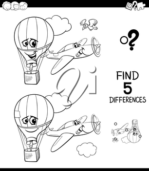Black and White Cartoon Illustration of Finding Five Differences Between Pictures Educational Game for Children with Plane and Hot Air Balloon Coloring Book