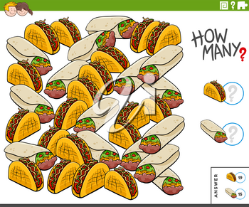 Illustration of Educational Counting Game for Children with Burrito an Taco Food Objects
