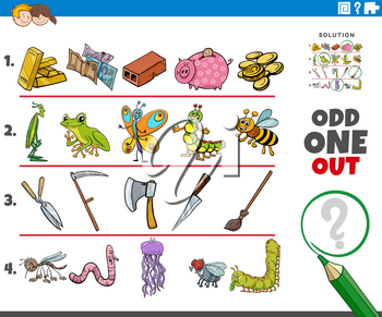 Cartoon illustration of odd one out picture in a row educational game for children with object and animal characters